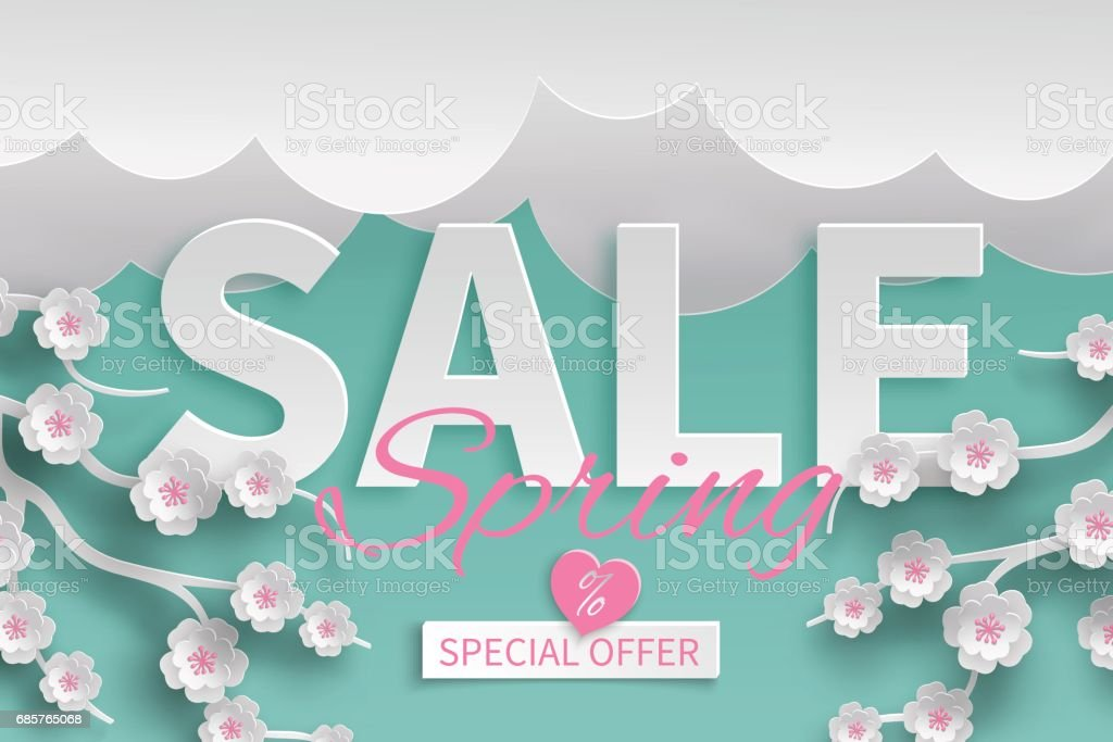 Spring sale floral template with paper cut blooming pink cherry flowers on green background with clouds for banner, flyer, invitation, poster, web site or greeting card spring sale floral template with paper cut blooming pink cherry flowers on green background with clouds for banner flyer invitation poster web site or greeting card - immagini vettoriali stock e altre immagini di adulto royalty-free