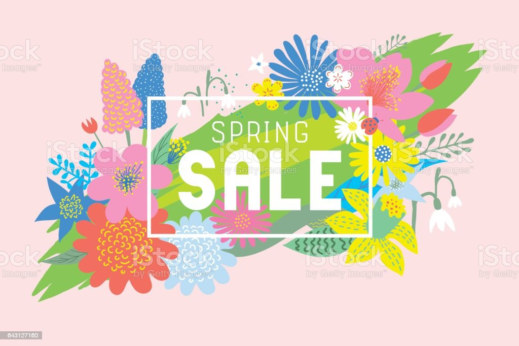Spring sale flowers bloom vector art illustration
