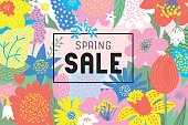 Spring sale flowers blooming