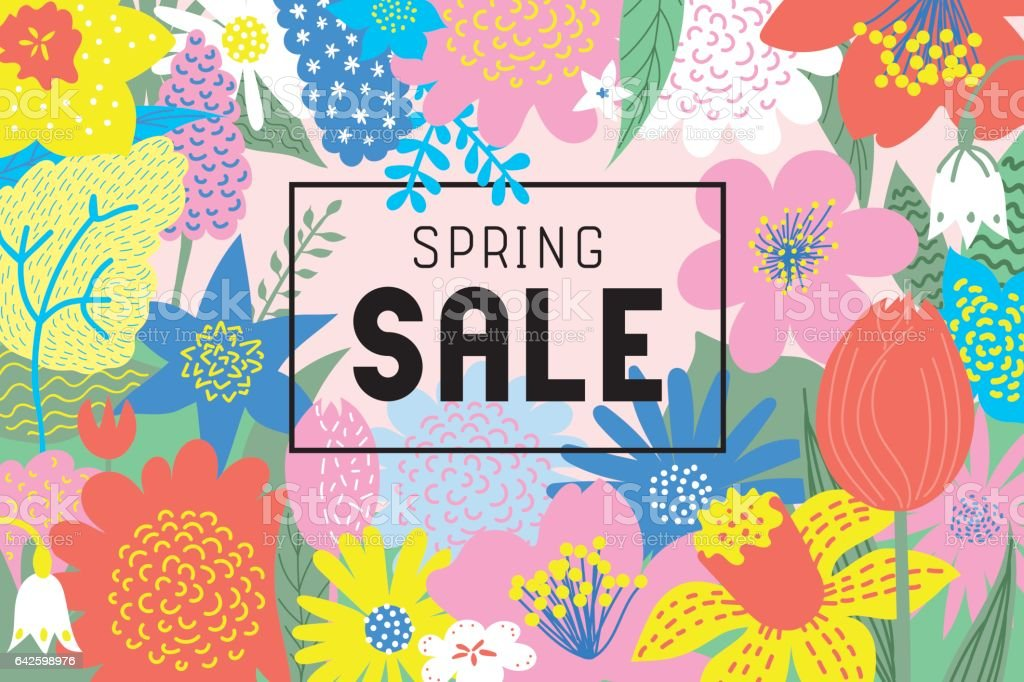 Spring sale flowers blooming vector art illustration