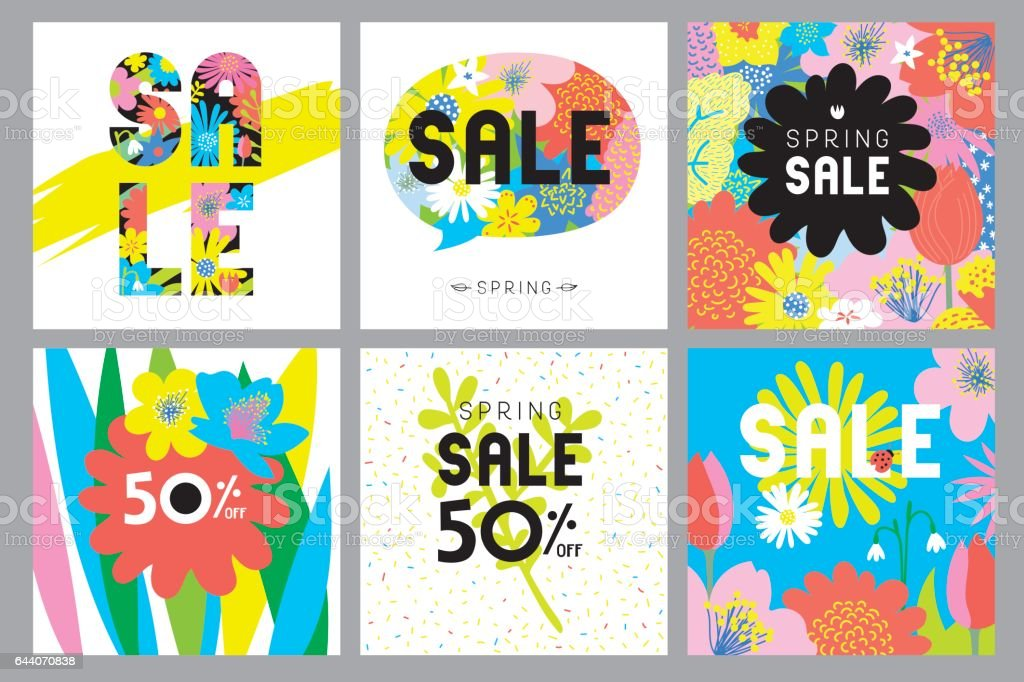 Spring sale flowers cards vector art illustration