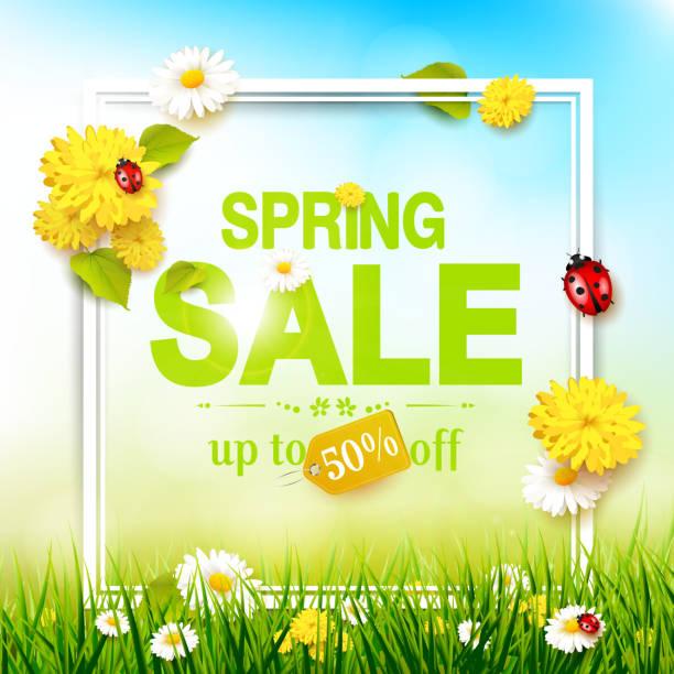 Spring sale flyer vector art illustration