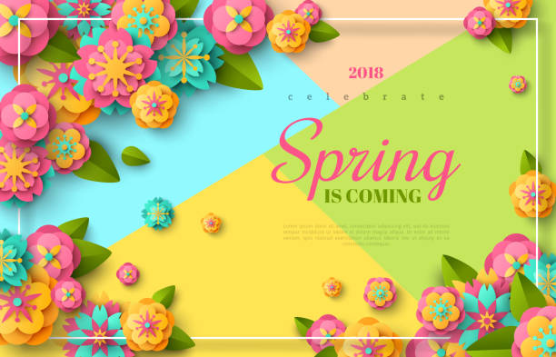 Spring sale flyer Spring sale flyer template with paper cut flowers and leaves with frame. Bright colorful geometric background. Vector illustration. Fresh design for posters, flyers, brochures or vouchers. spring stock illustrations