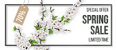 Spring sale. Blooming tree branch, frame and typographics. Background for invitation, discount offer or flyer. Realistic detailed vector template.