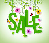 Spring Sale Hanging with Vector Vines, Flowers and Flying Butterflies for Spring and Summer Promotion. Vector Illustration