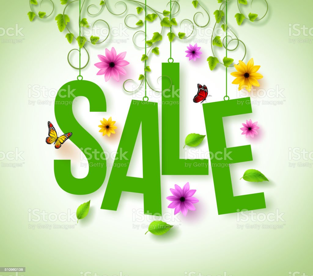 Spring Sale Hanging with Vector Vines, Flowers and Flying Butterflies vector art illustration