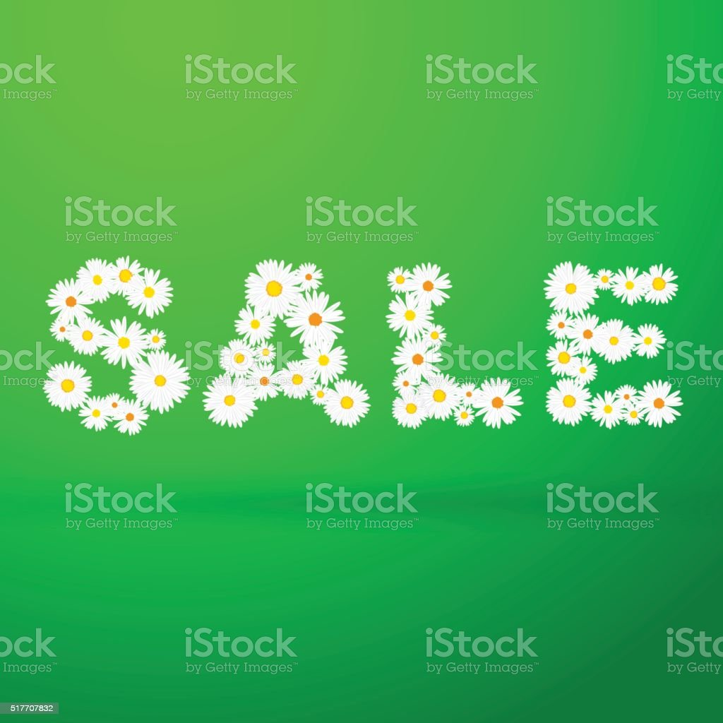Spring sale message with flowers vector art illustration
