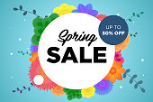 Spring sale offer promotion banner with beautiful colorful flower. Special discounts mockup. Poster for promotions, magazines, advertising, web sites. Vector greeting card illustration template