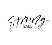 Spring sale card. Seasonal lettering. Ink illustration. Modern brush calligraphy. Isolated on white background.