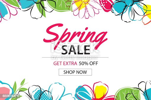 spring sale poster template with colorful flower