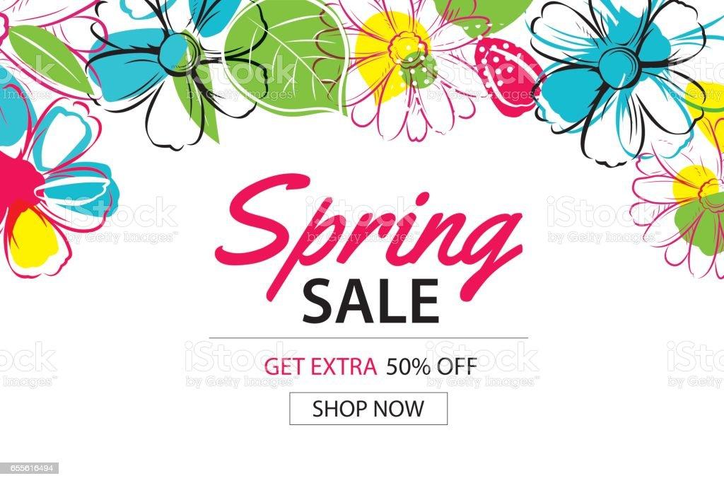 Vetores De Modelo De Cartaz Primavera Venda Com Fundo