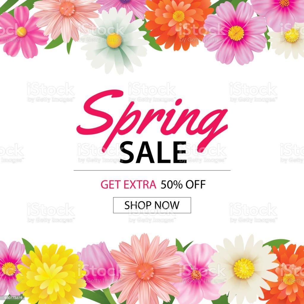 Renkli çiçek arka plan bahar satış poster şablonu. Kullanım fiş, duvar kağıdı, el ilanları, davetiye, broşür, kupon indirim olabilir. vektör sanat illüstrasyonu