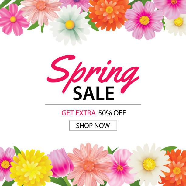 illustrations, cliparts, dessins animés et icônes de printemps vente affiche modèle avec fond de fleurs colorées. peut être le bon usage, papier peint, flyers, invitation, brochure, coupon de réduction. - printemps