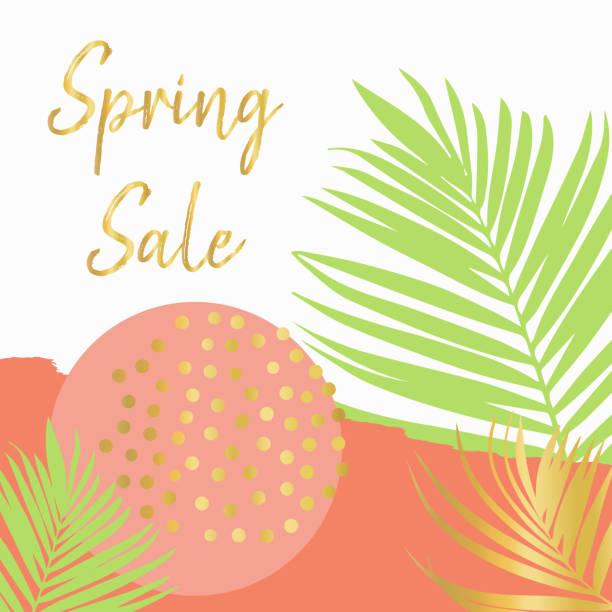 Spring sale poster vector template peach green vector art illustration