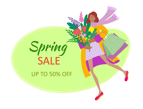 spring sale poster with girl