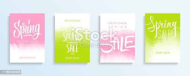 Spring Sale promotional flyers or covers set with hand lettering for springtime shopping, commerce, discount promotion and advertising. Vector illustration.