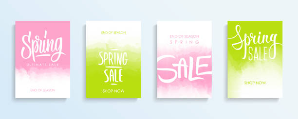 Spring Sale promotional flyers or covers set with hand lettering for springtime shopping, commerce, discount promotion and advertising. Spring Sale promotional flyers or covers set with hand lettering for springtime shopping, commerce, discount promotion and advertising. Vector illustration. spring stock illustrations