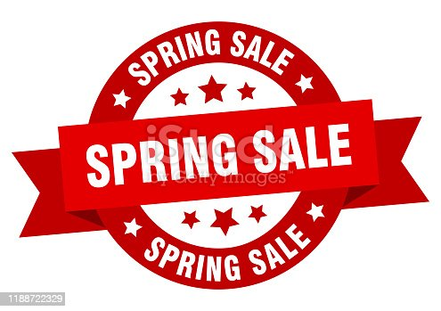 spring sale ribbon. spring sale round red sign. spring sale