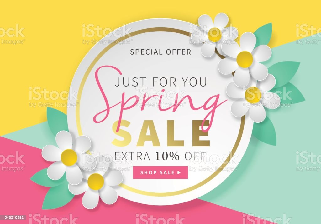 spring sale round banner template for social media and mobile apps