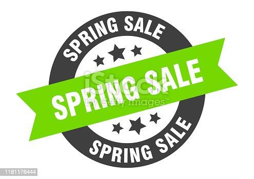 spring sale sign. spring sale black-green round ribbon sticker