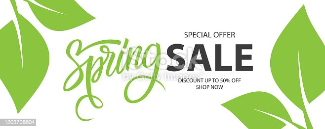 Spring Sale special offer banner. Springtime season background with hand lettering and spring green leaves for business, seasonal shopping, promotion and advertising.