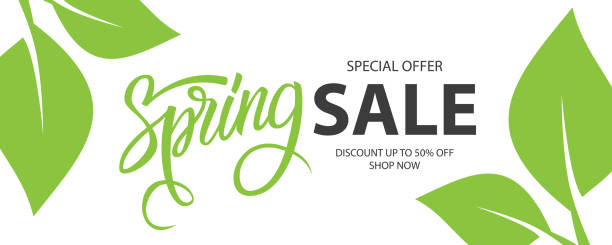 Spring Sale special offer banner. Springtime season background with hand lettering and spring green leaves for business, seasonal shopping, promotion and advertising. Spring Sale special offer banner. Springtime season background with hand lettering and spring green leaves for business, seasonal shopping, promotion and advertising. Vector illustration. springtime stock illustrations