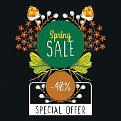 Spring sale. Special offer. Floral decoration. Flowers around round frame. Discount. Flyer, banner, advertising or sign board. Vector illustration, eps10