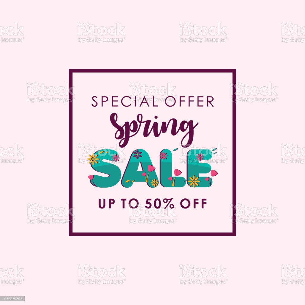 Spring Sale Special Offer Up To 50 Off Vector Template