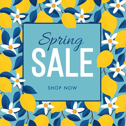 Spring Sale Template with Lemons Background. Stock illustration