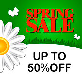 Spring sale up to 50 %. Vector illustration