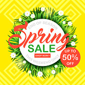 Spring sale vector background with green grass and flowers. Shop now. Promotion banner for your shop. Spring discount. Bright banner for your business. Email marketing