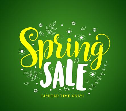 Spring sale vector banner design in green background