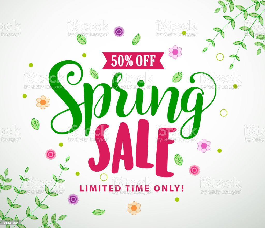 Spring sale vector banner design with colorful leaves and flowers vector art illustration