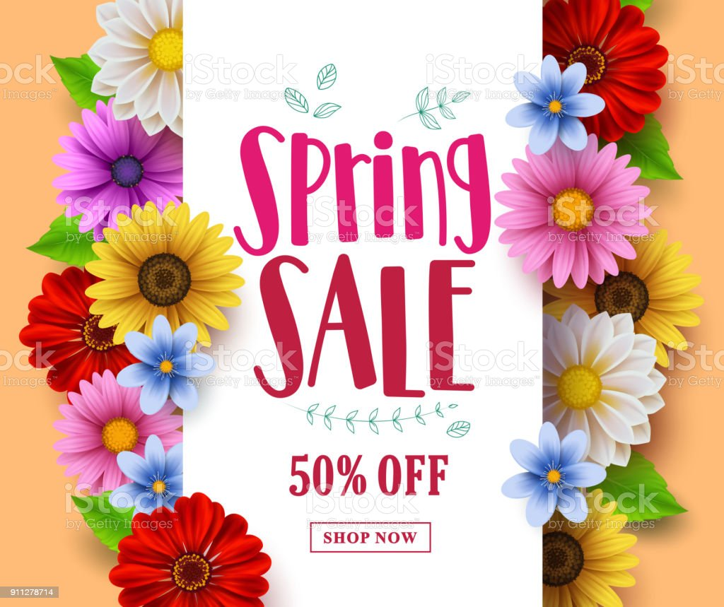 Spring sale vector banner design with sale text in white empty space vector art illustration