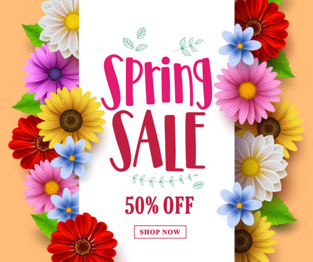 Spring sale vector banner design with sale text in white empty space Spring sale vector banner design with sale text in white empty space and various colorful flowers in a background for spring seasonal discount promotion. Vector illustration. spring stock illustrations