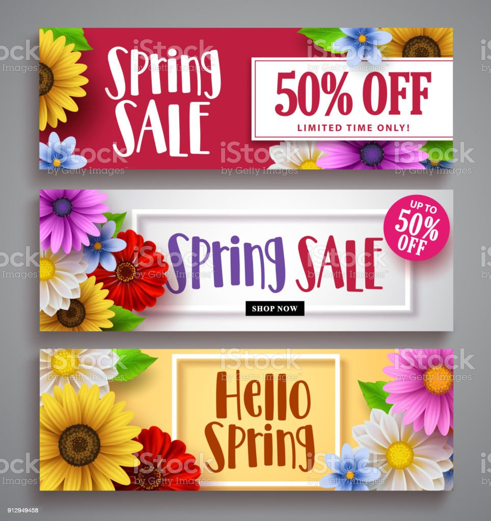 Spring Sale Vector Banner Set With Colorful Background Templates