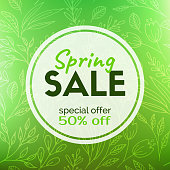 Spring sale banner. Vector discount card template