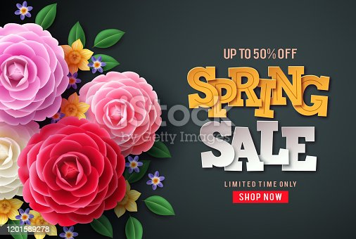 istock Spring sale vector flowers background. Spring sale text, colorful camellia flowers 1201589278
