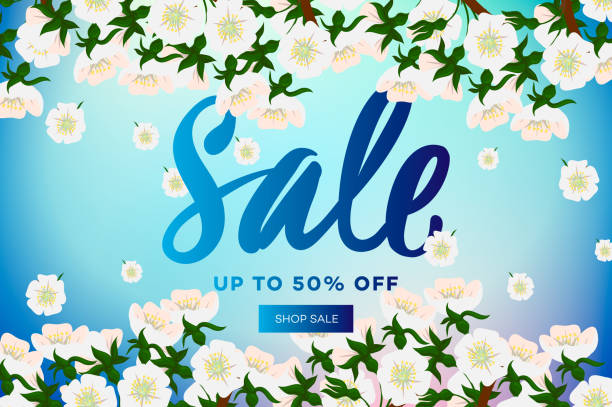 spring sale with blossom sakura on blue background. web banner or poster for e-commerce, on-line cosmetics shop, fashion & beauty shop, store, vector illustration - spring fashion stock illustrations, clip art, cartoons, & icons