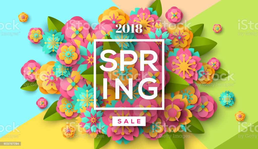 Spring sale with paper cut flowers vector art illustration