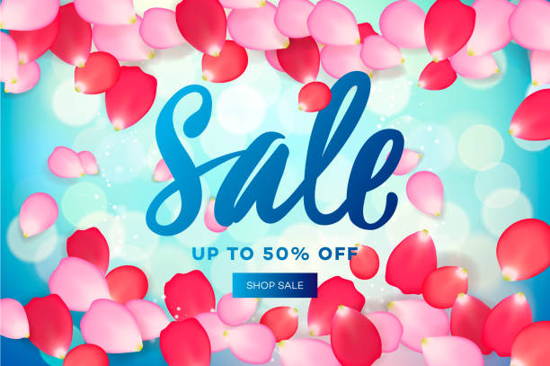 spring sale with pink flying petals. web banner or poster for e-commerce, on-line cosmetics shop, fashion & beauty shop, store, vector illustration - spring fashion stock illustrations, clip art, cartoons, & icons