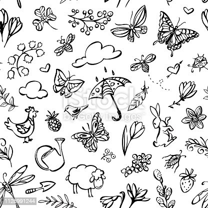 Vector hand drawn spring elements seamless pattern.