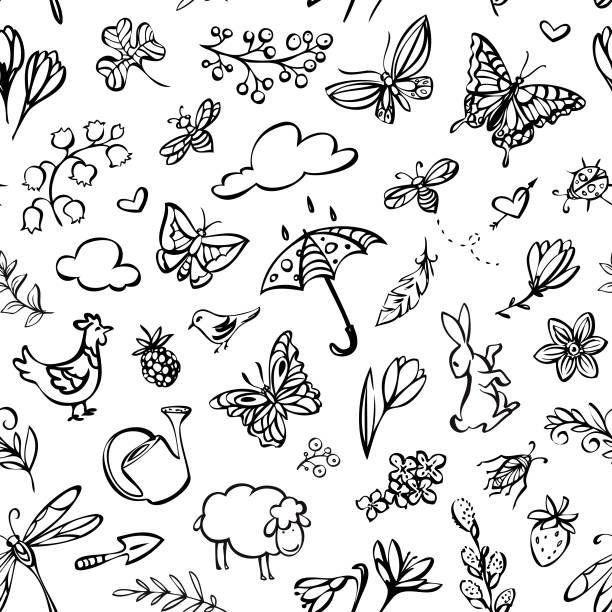 Spring seamless pattern vector art illustration