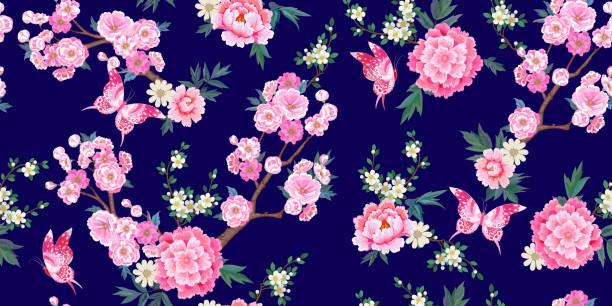 桜の咲く春のシームレスな模様、ピンクのピオニー梅の枝と中国風の飛ぶ蝶 - ボタニカル点のイラスト素材/クリップアート素材/マンガ素材/アイコン素材