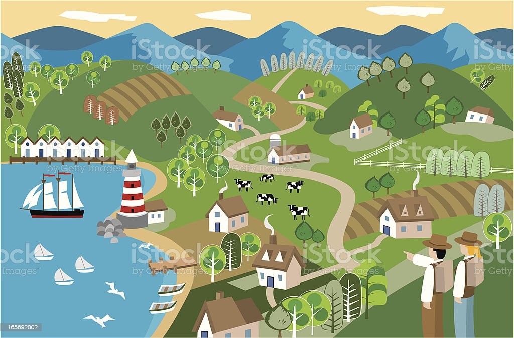 Spring Seaside vector art illustration