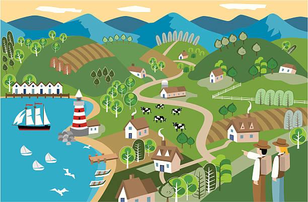 Spring Seaside vector art illustration