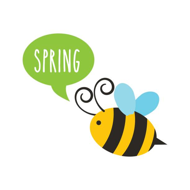 spring season design bee with speech bubble icon over white background. spring season concept. colorful design. vector illustration bee clipart stock illustrations