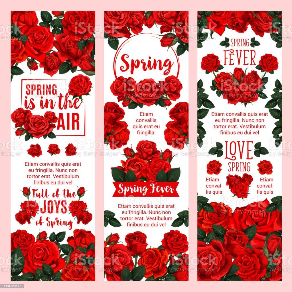Spring season floral banner with red rose flower vector art illustration