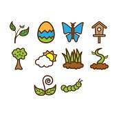 Spring season icon set