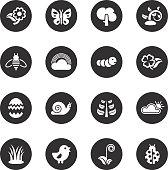 Spring Season Icons Black Circle Series Vector EPS10 File.